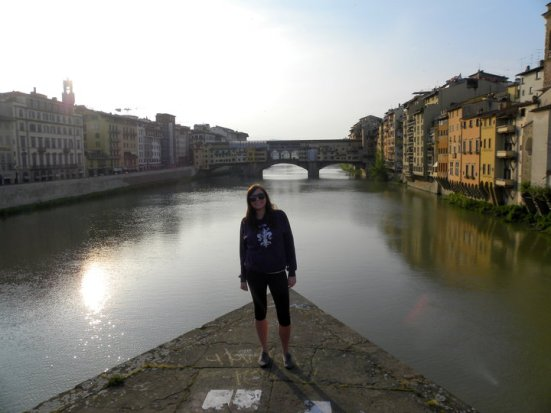 On the Triangle Bridge in front of Ponte Vecchio on my  last morning in Firenze. April, 2010.